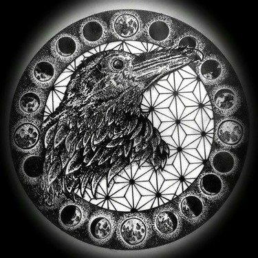 Dotwork Gothic Raven In Moon Cycle Tattoo