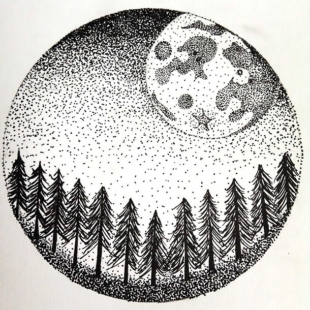 Dotwork Moon and forest In Circle Tattoo Design