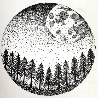 Dotwork Moon and forest In Circle Tattoo