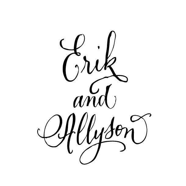 Erik and Allyson Names Tattoo Design