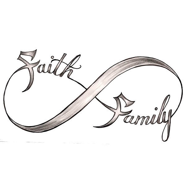 Faith Family Infinity Tattoo Design