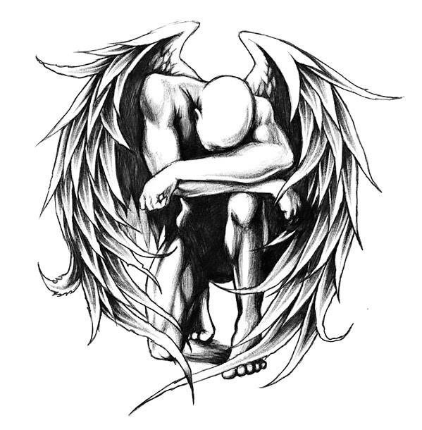 Fallen Angel Tattoo Design