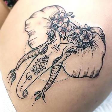Beautiful Elephant Thigh Tattoo