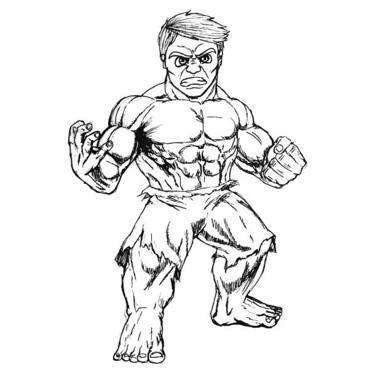 Funny Sketch Style Hulk Tattoo