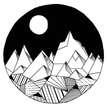 Geomertic Mountains In Circle Tattoo