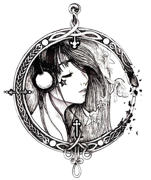 Girl In Circle Tattoo Design