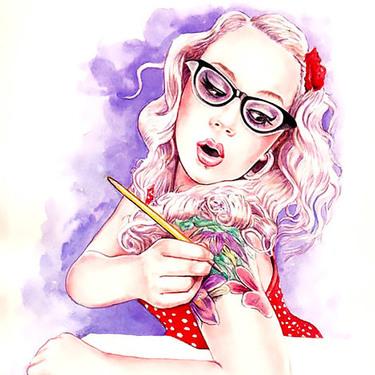 Girl Painting Tattoo