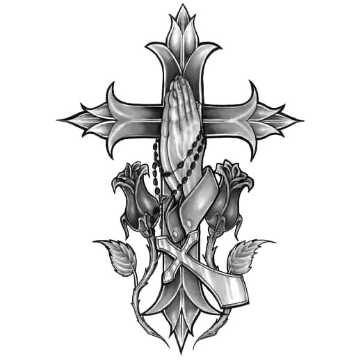 Gothic Cross With Praying Hands Tattoo Design