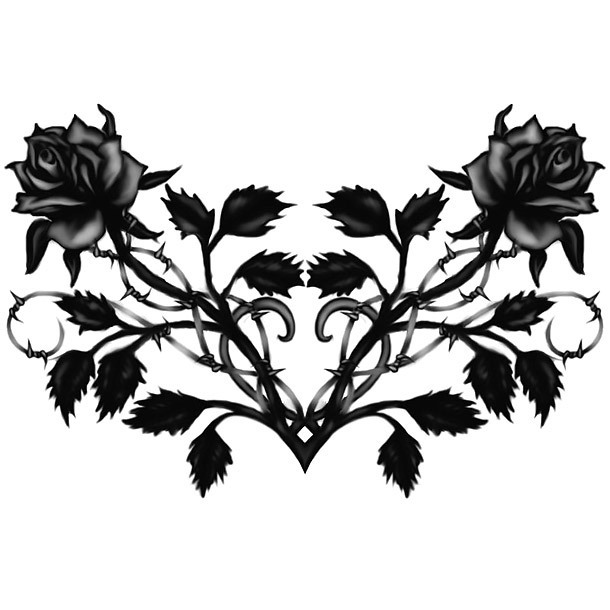 Gothis Black Roses Tattoo Design