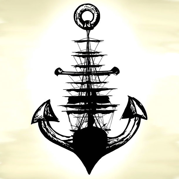 Great Anchor Ship Tattoo Design