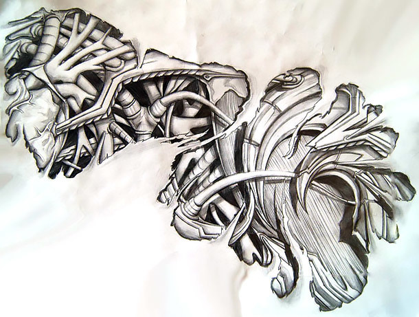 Great Biomechanical Tattoo Sketch Tattoo Design
