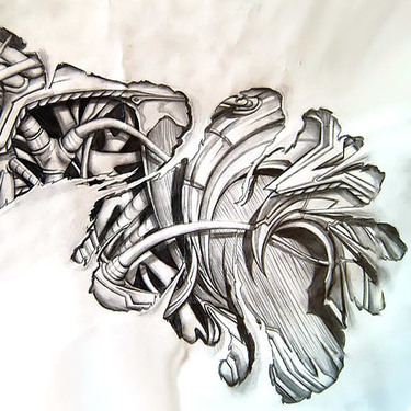 Great Biomechanical Tattoo Sketch Tattoo