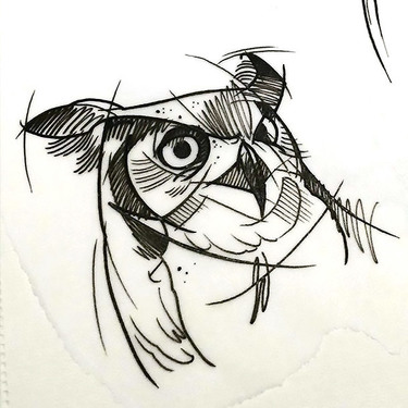 Great Sketch Style Owl Tattoo