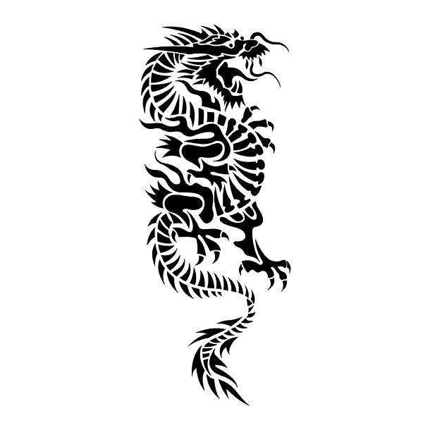 Great Tribal Chinese Dragon Tattoo Design