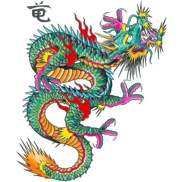 Green Japanese Dragon Tattoo Design
