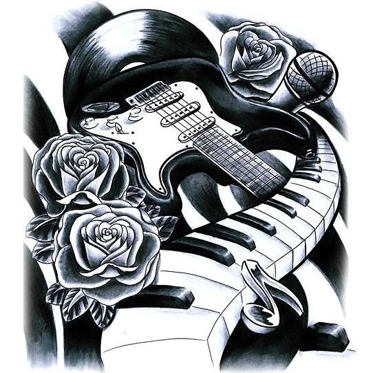 Guitar Piano and Microphone Tattoo Design