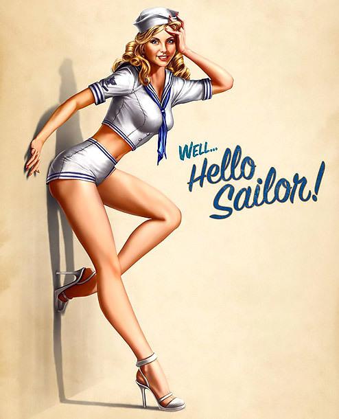 Hello Sailor Pin Up Girl Tattoo Design