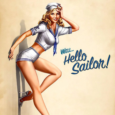 Hello Sailor Pin Up Girl Tattoo