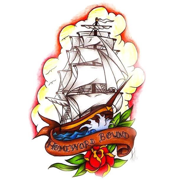Homeward Bound Ship Tattoo Design