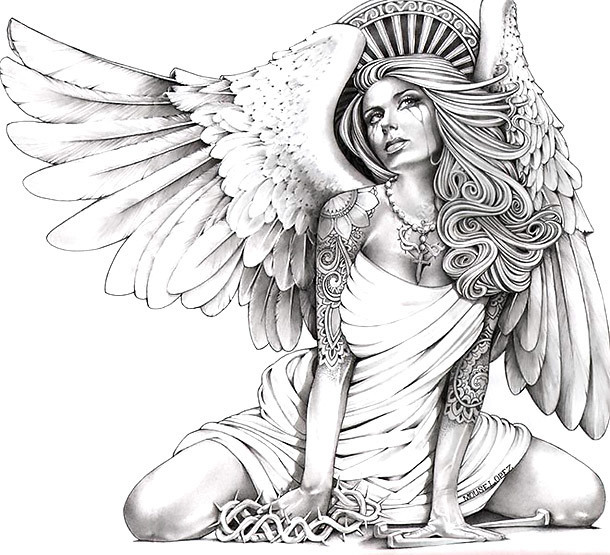 Horny Angel Tattoo Design