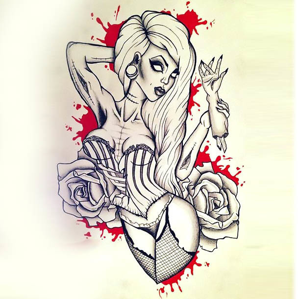 Horror Pin Up Girl With Blood Tattoo Design