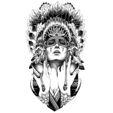 Indian Girl Tattoo Design In Sketch Style Tattoo
