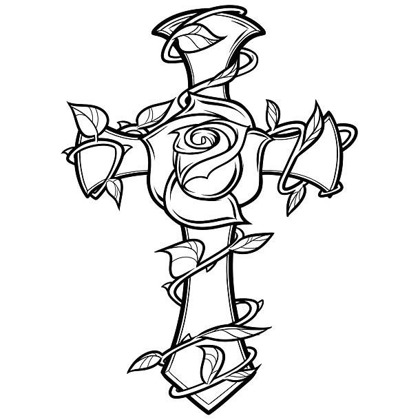 Inspiring Cross and Rose Tattoo Design