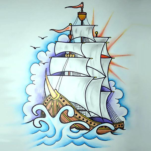 Inspiring Ship Tattoo Design