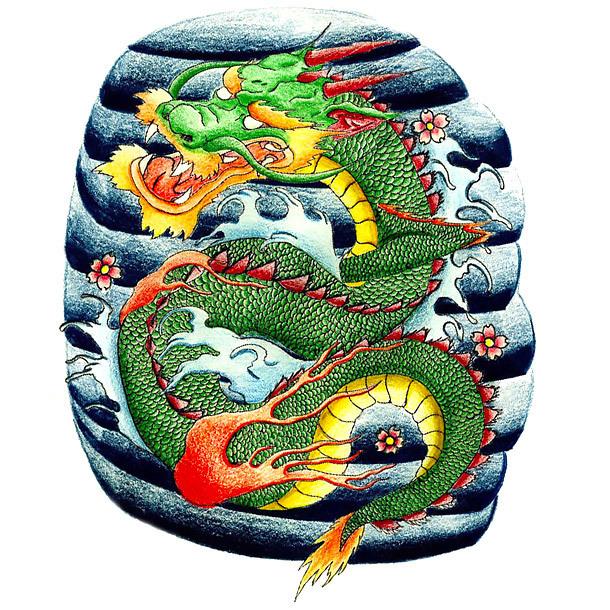 Japanese Dragon on Wave Tattoo Design