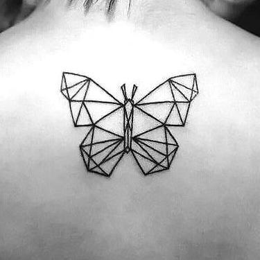 Beautiful Geomitric Butterfly Tattoo