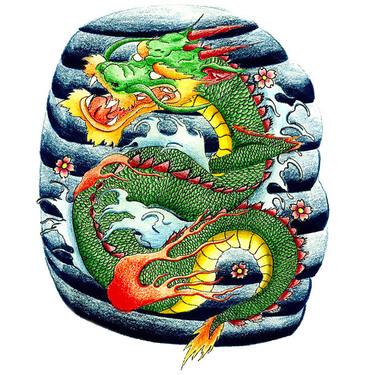 Japanese Dragon on Wave Tattoo