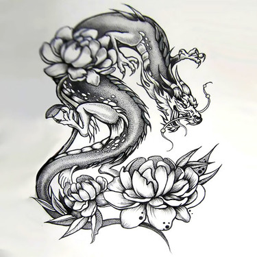 Japanese Dragon With Peonies Tattoo