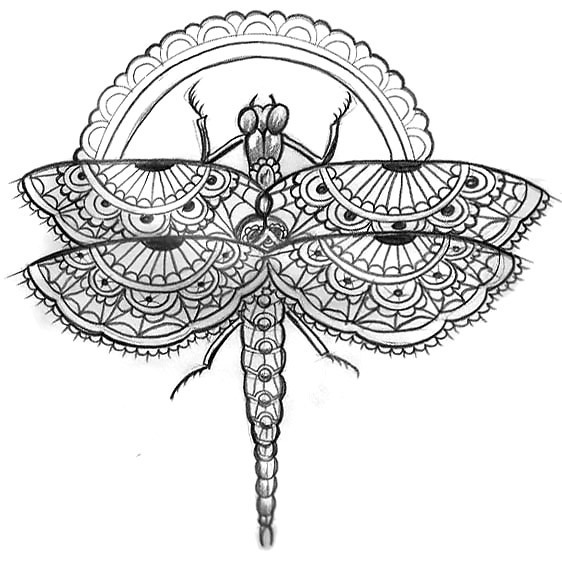 Lace Dragonfly Tattoo Design