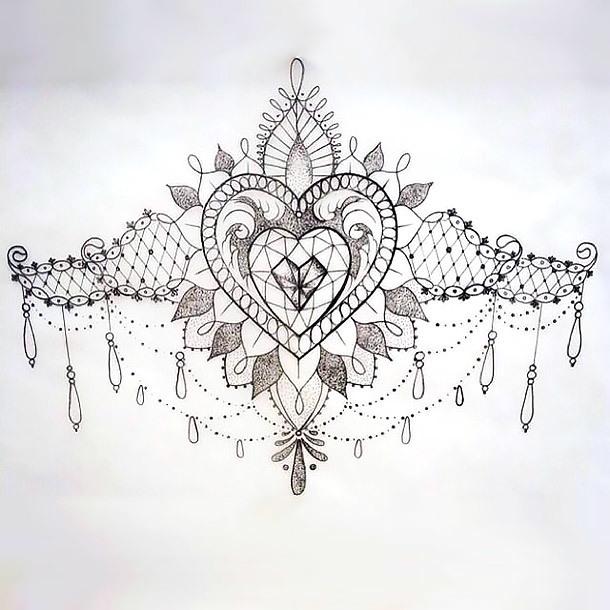 Lace Tattoo Sketch Under Breast Tattoo Design