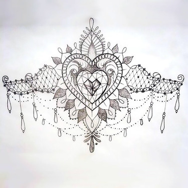 Lace Tattoo Sketch Under Breast Tattoo