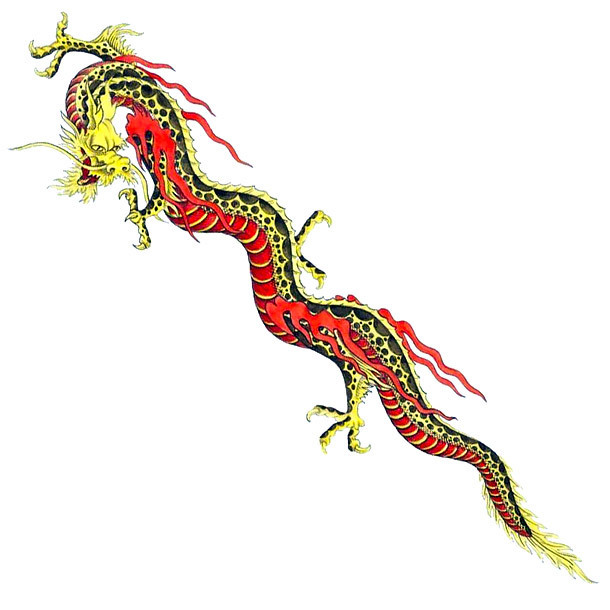 Long Chinese Dragon Tattoo Design