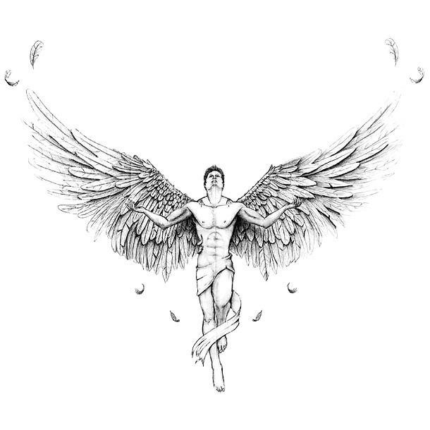Man Angel Tattoo Design