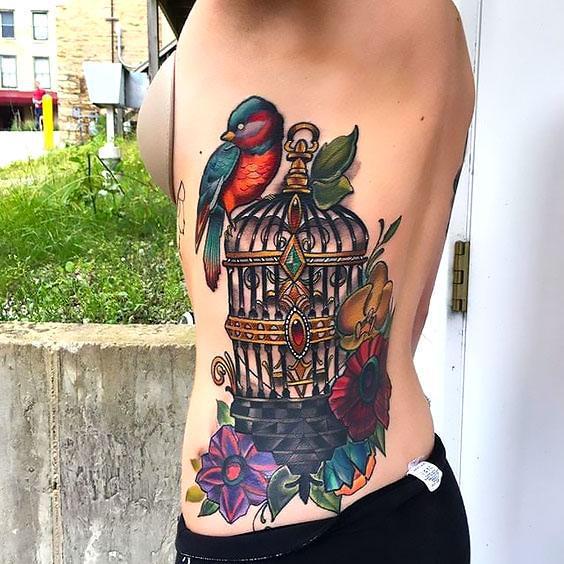 Bird on Birdcage Tattoo Idea