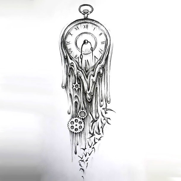 Melted Clock Tattoo Design