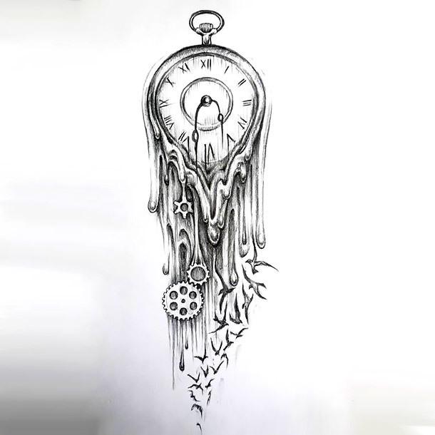 Melted Clock Tattoo Design
