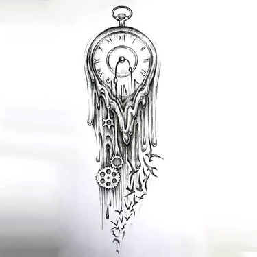 Melted Clock Tattoo