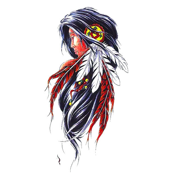 Native American Girl Tattoo Design
