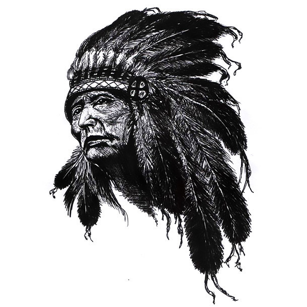 Native Indian Chief Tattoo Design