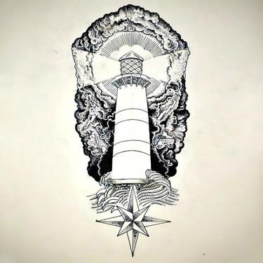 Nautical Light Tower Tattoo