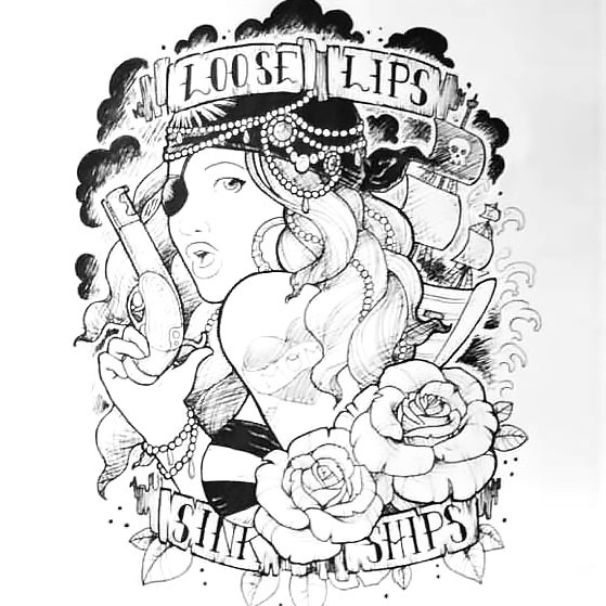 Nautical Pirate Girl Tattoo Design