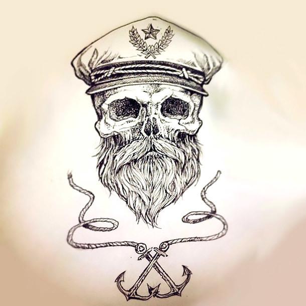 Nautical Skull Tattoo Sketch Tattoo Design