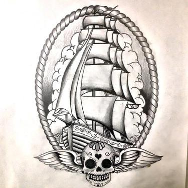 Neo Traditional Ship Tattoo