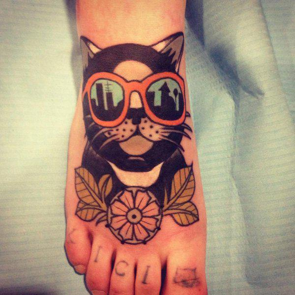 Funny Cat in Glasses Tattoo Idea