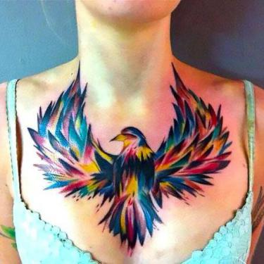 Bird on Chest Tattoo