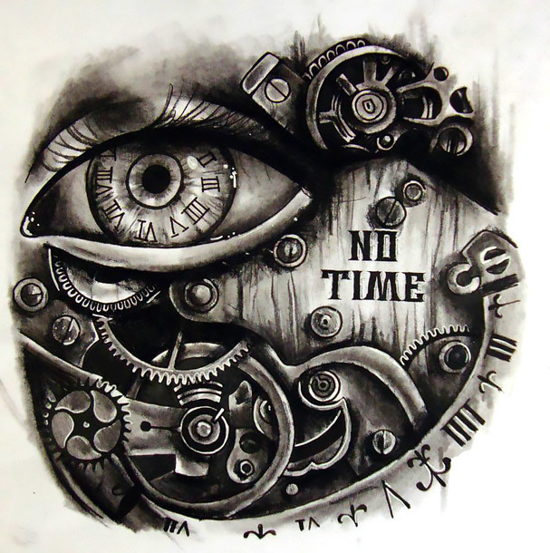 No Time Steampunk Tattoo Design